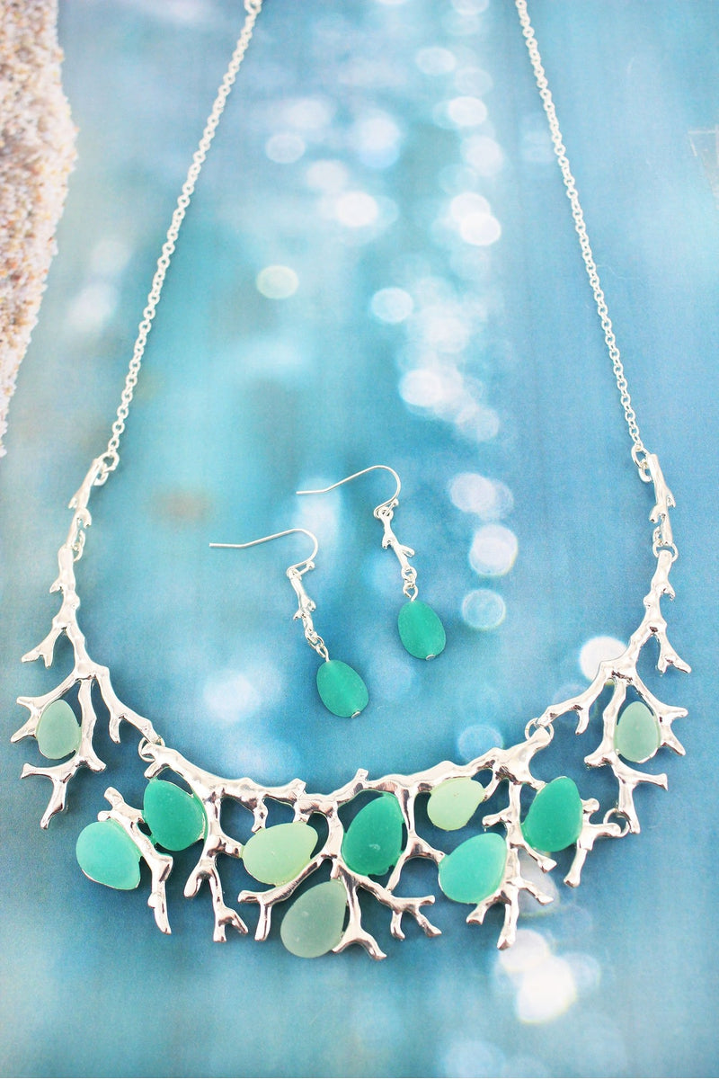 Silvertone and Green Multi Sea Glass Coral Bib Necklace and Earring Set