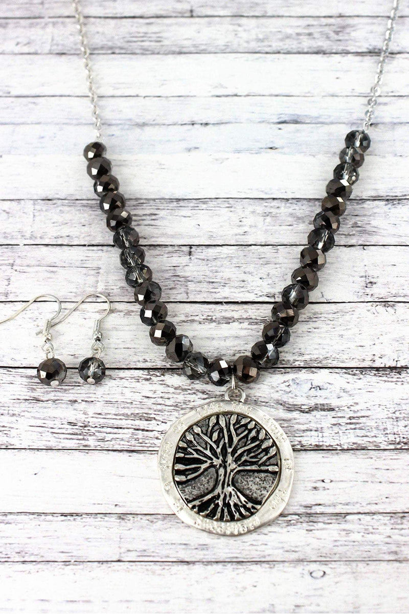 Silvertone Tree of Life Pendant Beaded Necklace and Earring Set