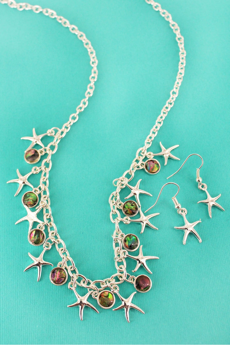 Silvertone Starfish and Abalone Disk Charm Necklace and Earring Set