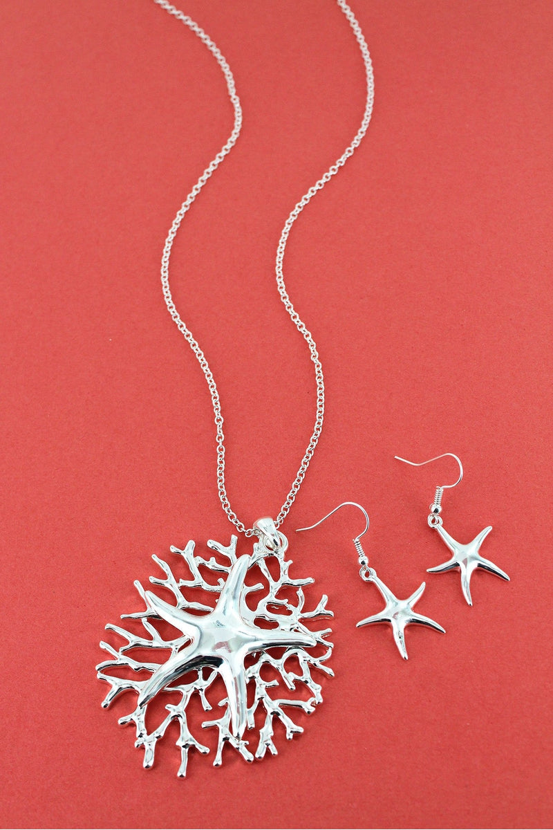 Silvertone Starfish on Coral Pendant Necklace and Earring Set