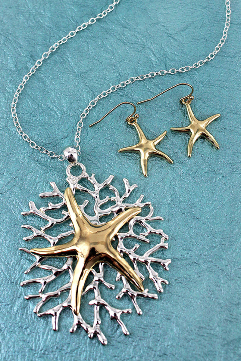 Two-Tone Starfish on Coral Pendant Necklace and Earring Set