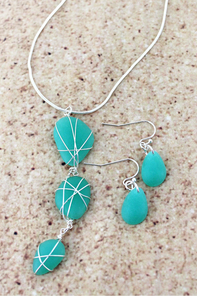Silvertone Wire-Wrapped Aqua Sea Glass Pendant Necklace and Earring Set