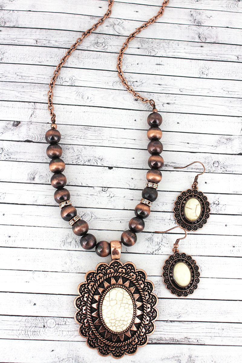 Western Scalloped Oval Pendant Copper Navajo Pearl Necklace and Earring Set