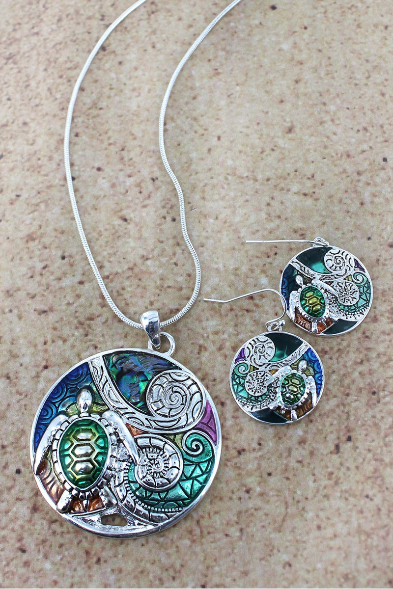 Turtle Color Mosaic Disk Pendant Necklace and Earring Set