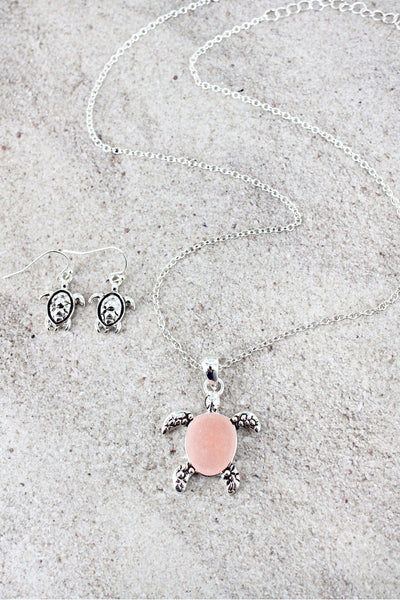 Pink Sea Glass and Silvertone Turtle Pendant Necklace and Earring Set