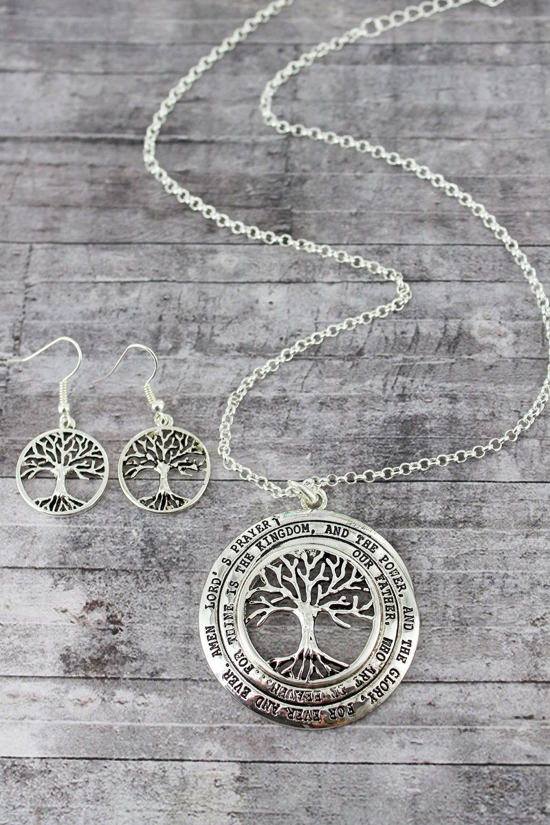 Silvertone Tree of Life 'Lord's Prayer' Pendant Necklace and Earring Set