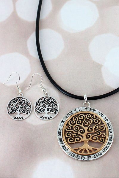 Two-Tone Tree of Life 'John 3:16' Pendant Cord Necklace and Earring Set