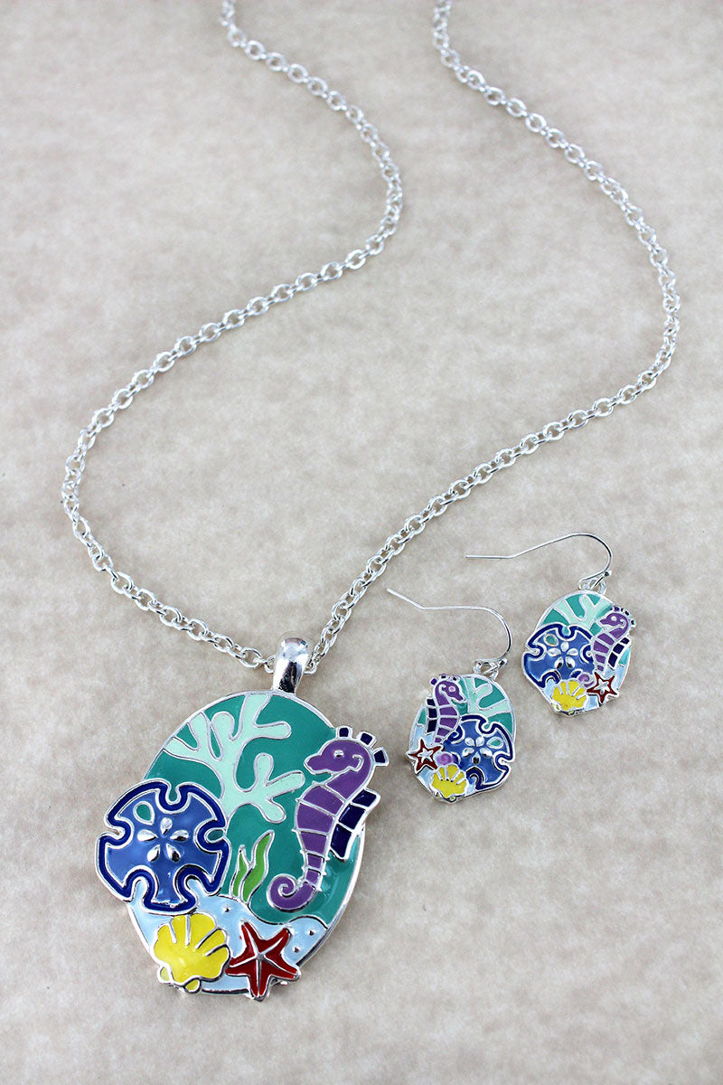Colorful Sea Life Pendant Silvertone Necklace and Earring Set