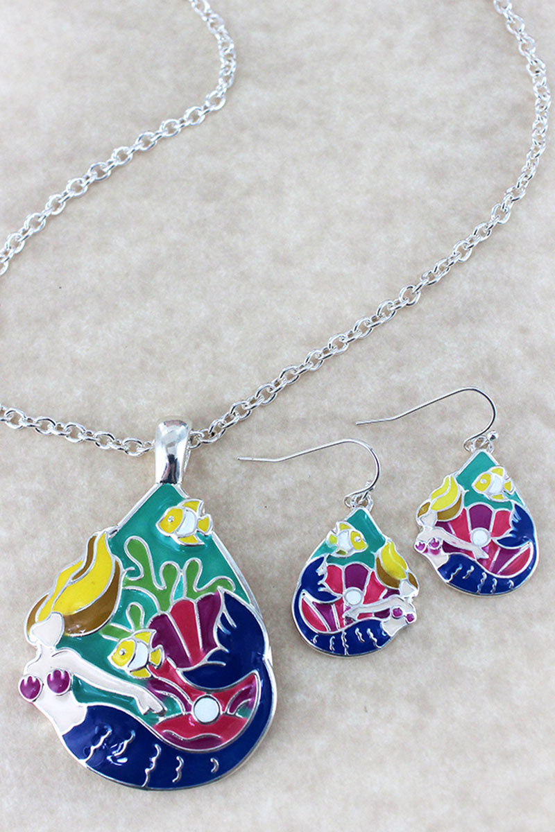 Colorful Mermaid Pendant Silvertone Necklace and Earring Set