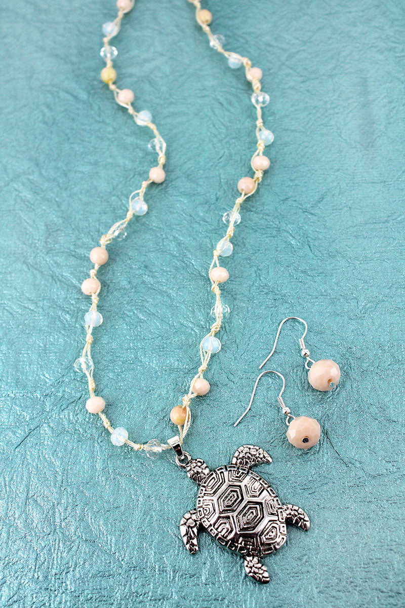 Silvertone Turtle Pendant Natural Beaded Cord Necklace and Earring Set