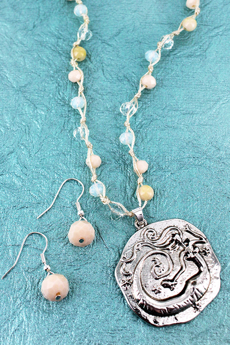 Silvertone Mermaid Pendant Natural Beaded Cord Necklace and Earring Set