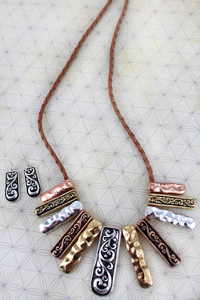 Tri-Tone Scroll and Hammered Bar Bib Necklace and Earring Set