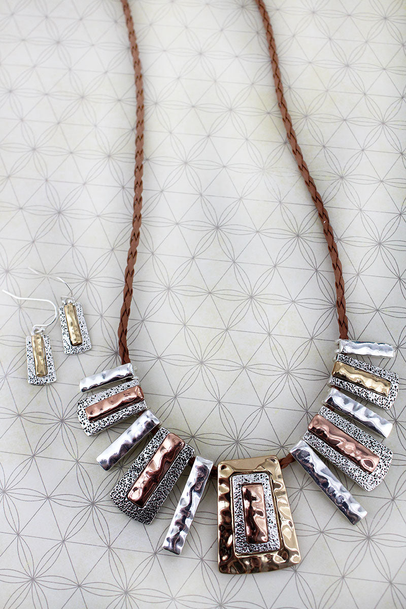 Tri-Tone Hammered Bar Bib Necklace and Earring Set