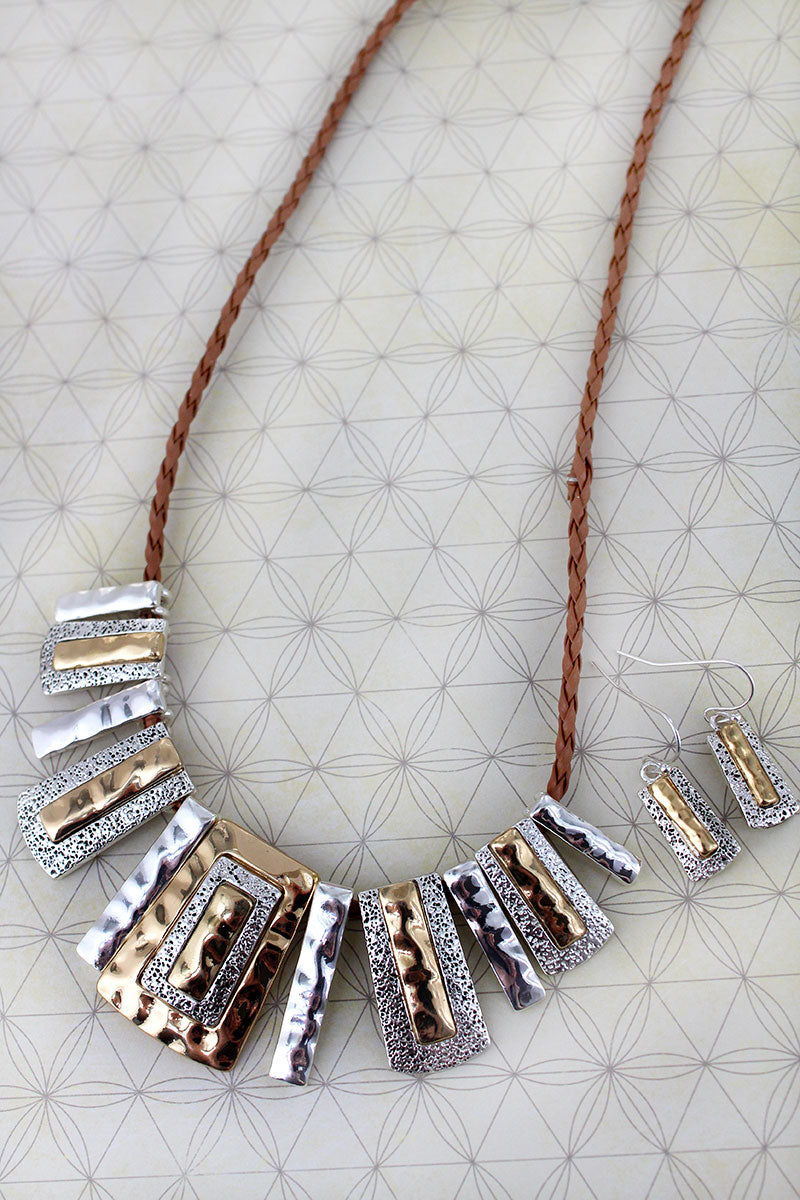 Two-Tone Hammered Bar Bib Necklace and Earring Set