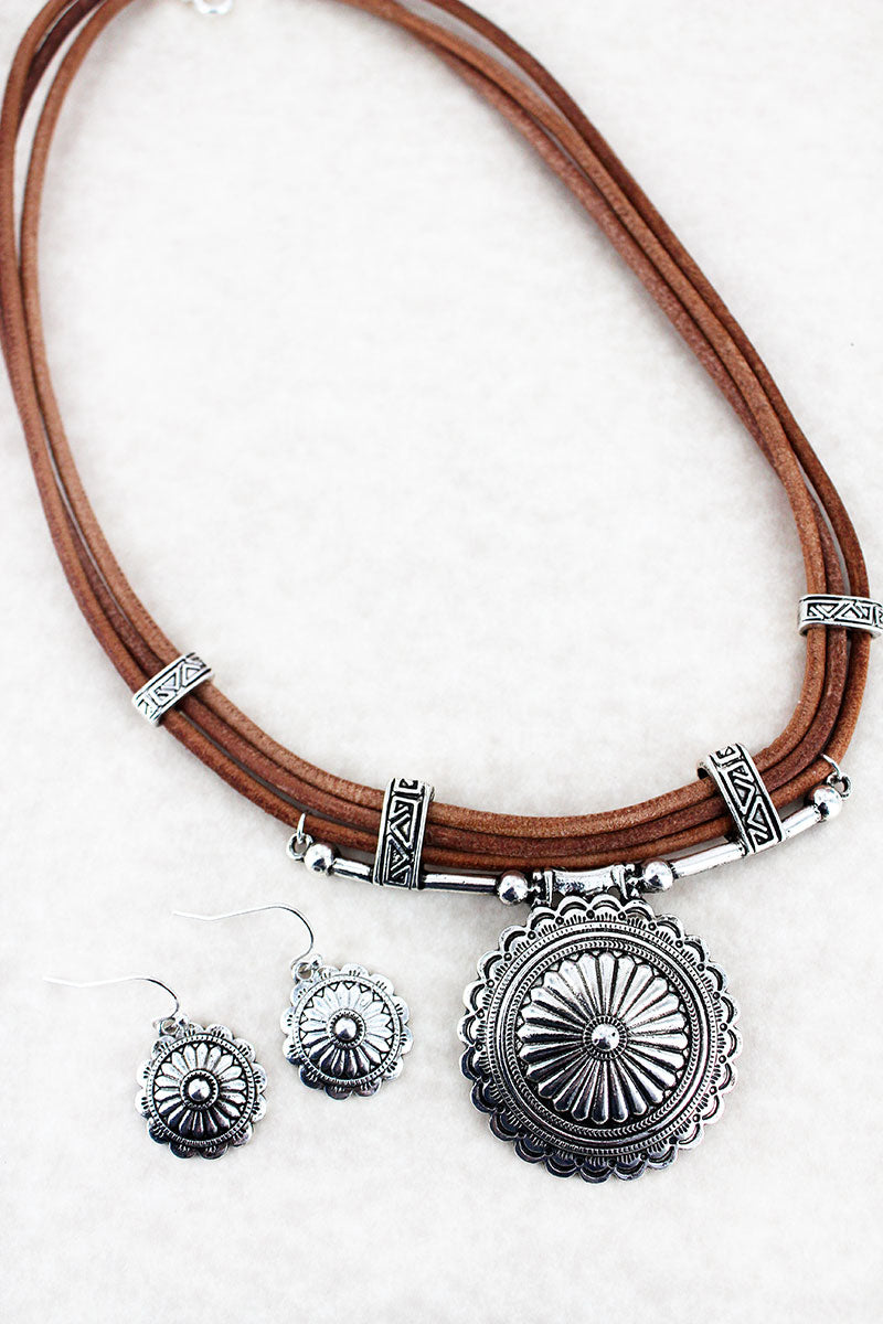 Silvertone Concho Pendant Faux Leather Three-Cord Necklace and Earring Set