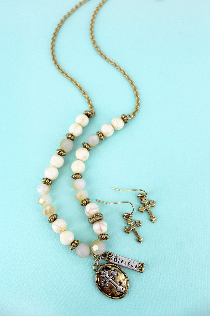 Cross and 'Blessed' Pendant Ivory Beaded Necklace and Earring Set