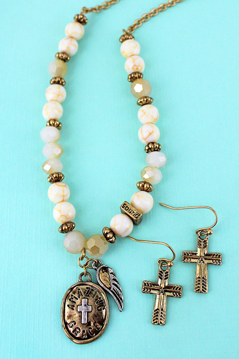Wing and 'Amazing Grace' Pendant Ivory Beaded Necklace and Earring Set