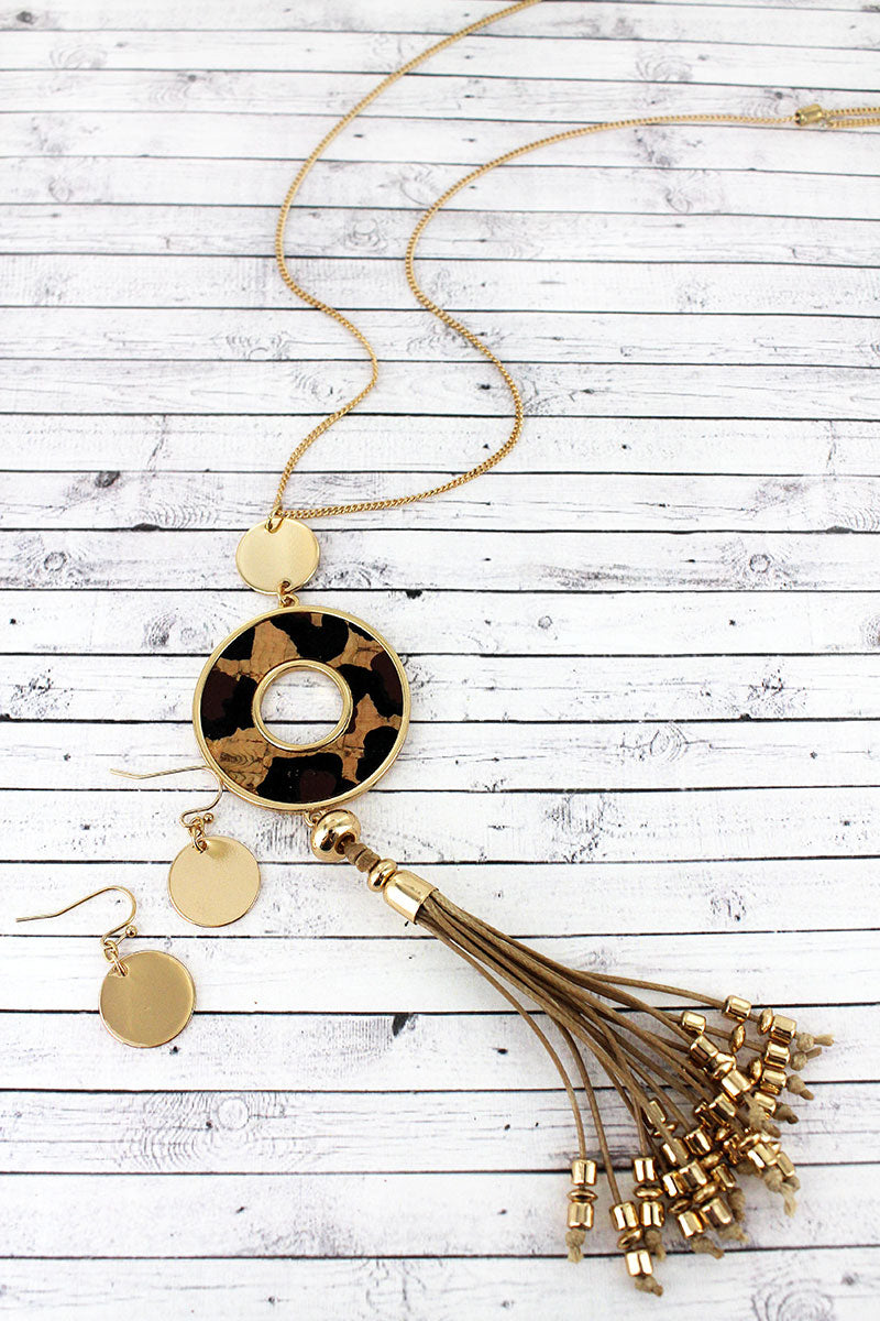 Goldtone and Leopard Cork Circle Tassel Necklace and Earring Set
