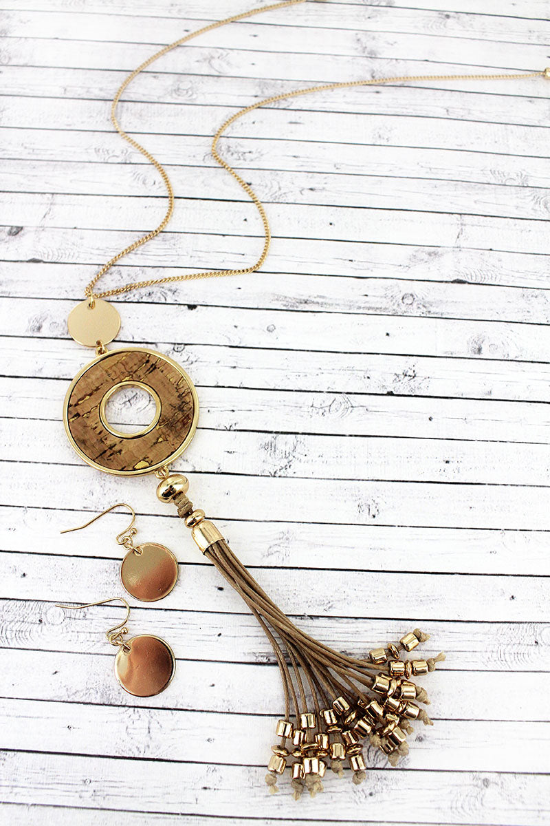 Goldtone and Natural Cork Circle Tassel Necklace and Earring Set