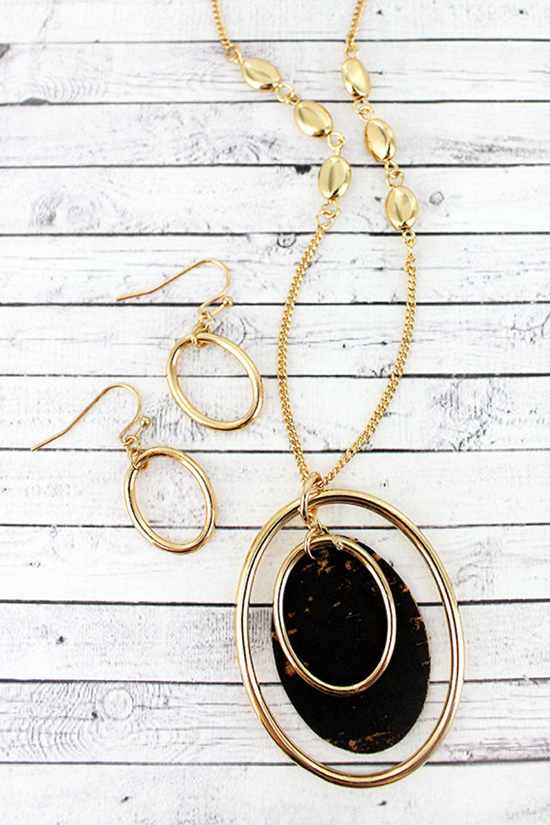 Goldtone and Black Cork Layered Oval Pendant Necklace and Earring Set