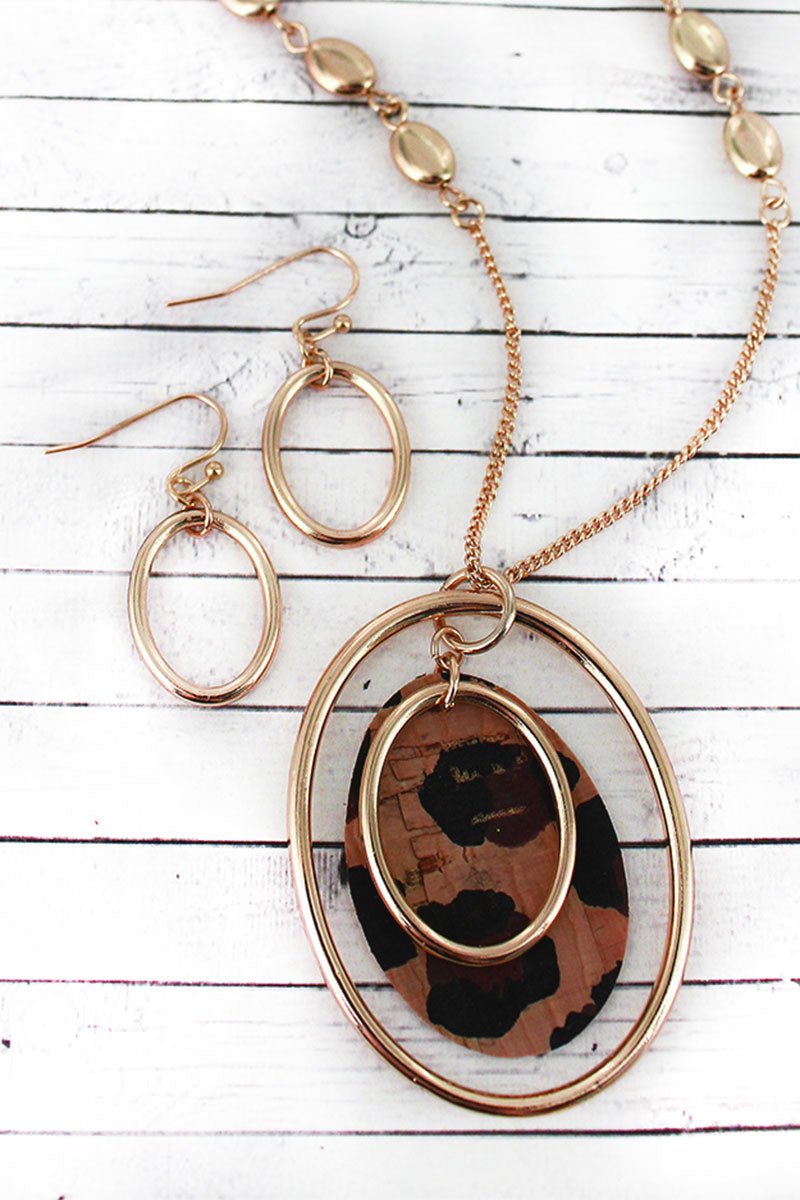 Goldtone and Leopard Cork Layered Oval Pendant Necklace and Earring Set-add