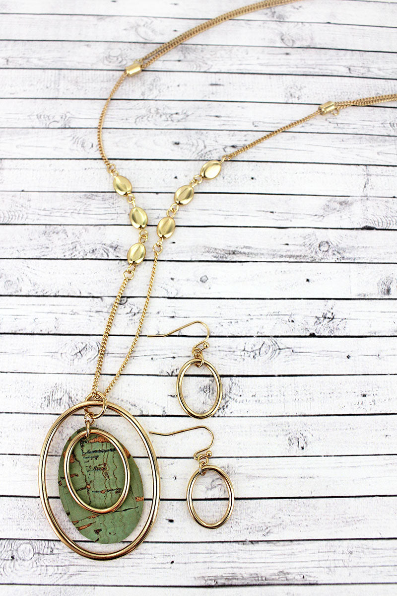 Goldtone and Mint Cork Layered Oval Pendant Necklace and Earring Set