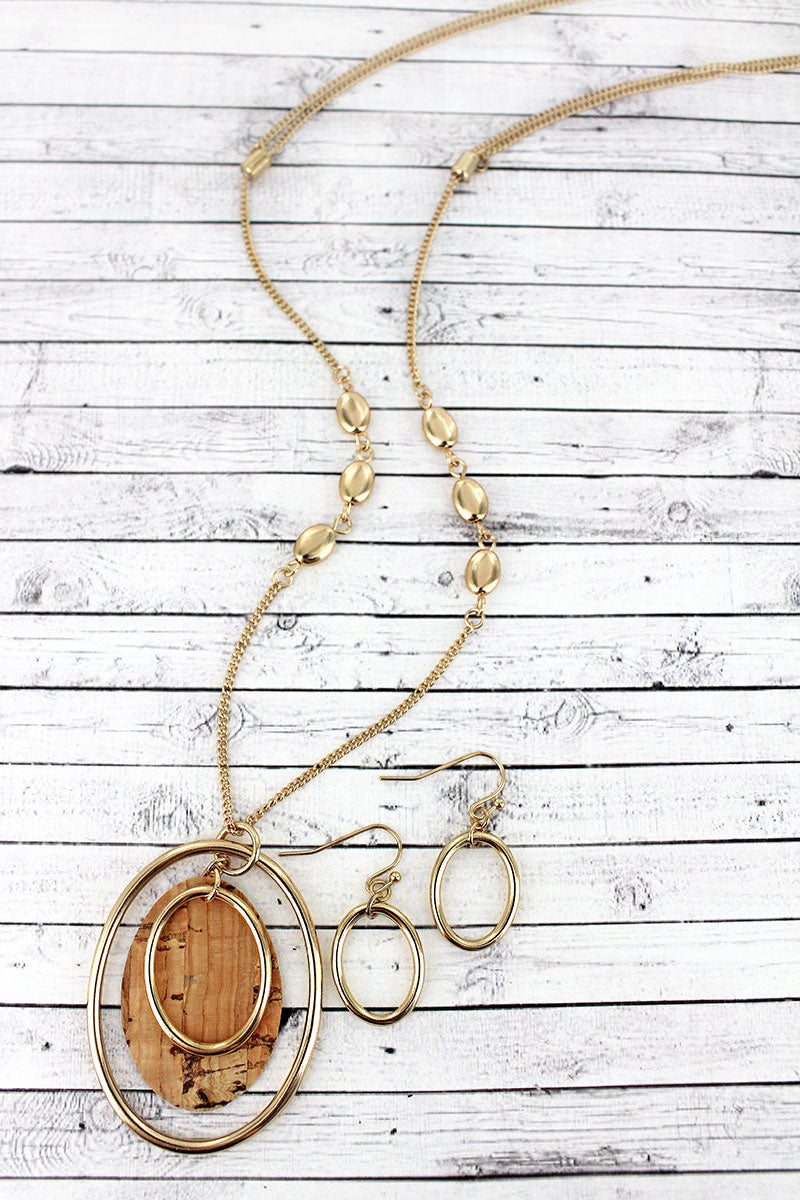 Goldtone and Natural Cork Layered Oval Pendant Necklace and Earring Set