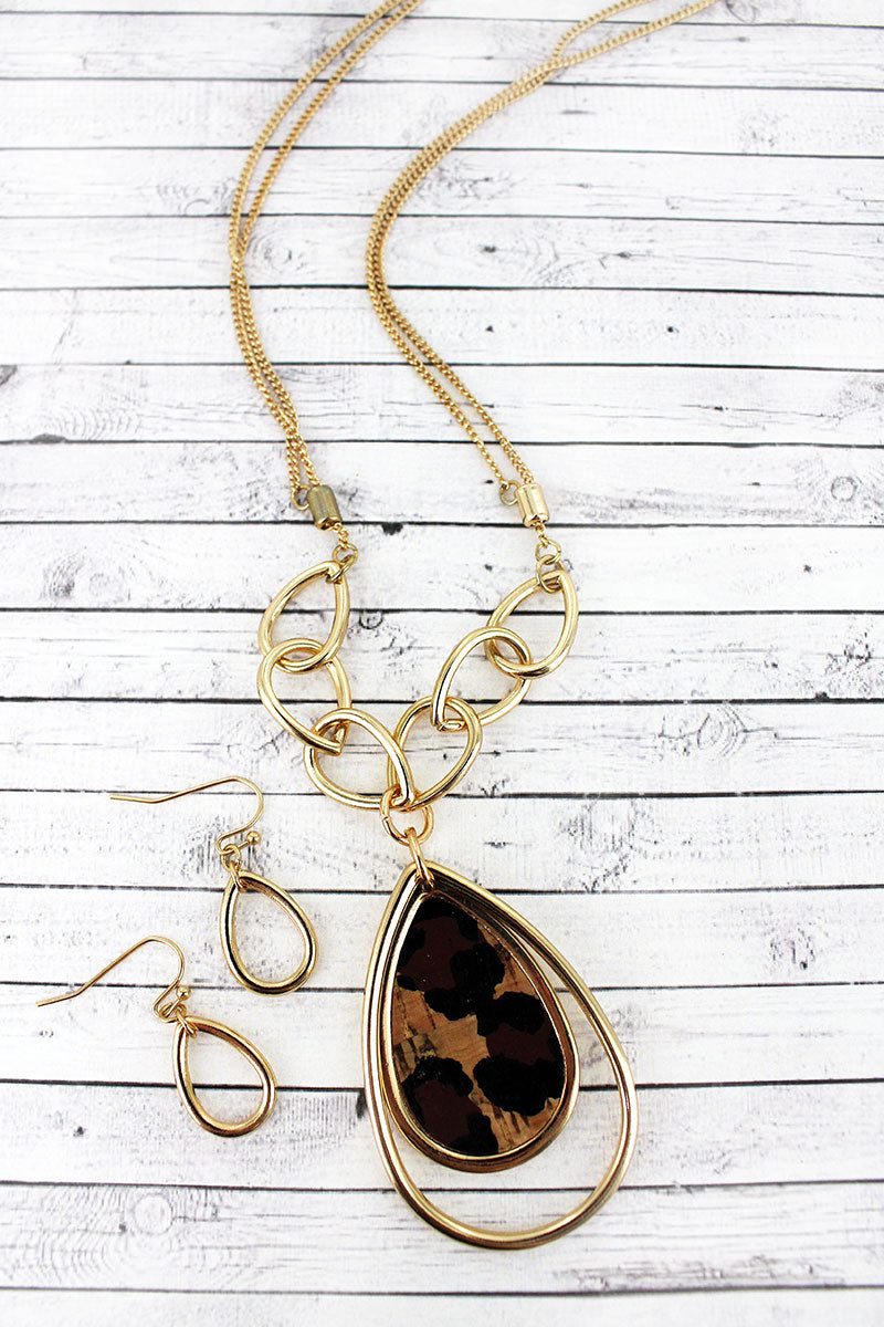 Goldtone and Leopard Cork Orbital Teardrop Necklace and Earring Set