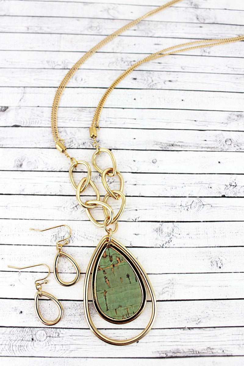 Goldtone and Mint Cork Orbital Teardrop Necklace and Earring Set