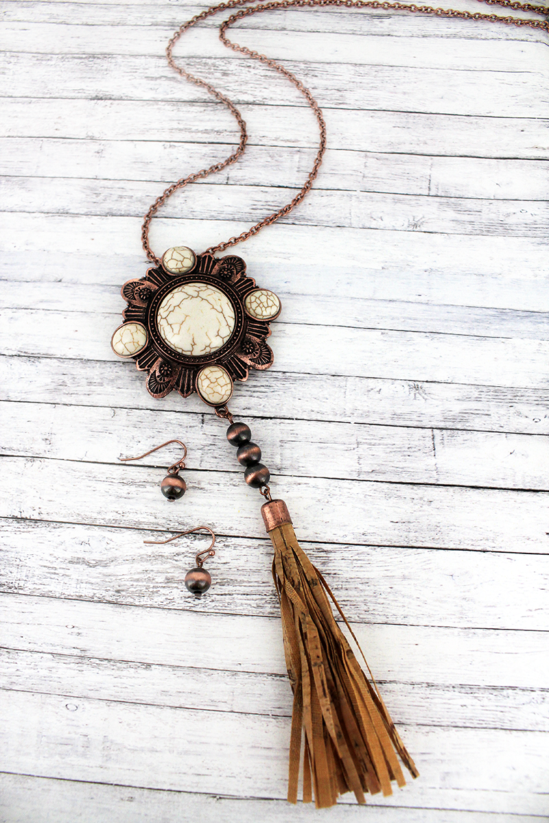 Coppertone and Howlite Medallion with Cork Tassel Necklace and Earring Set