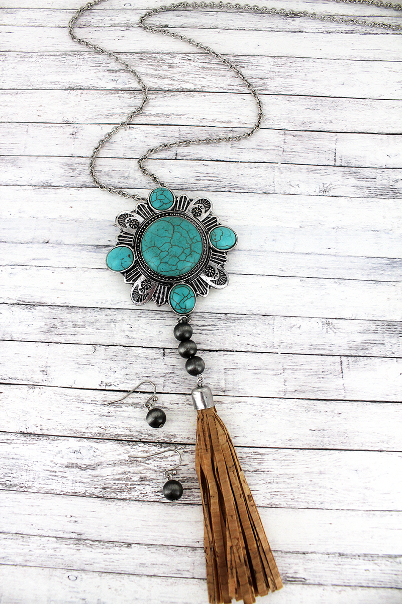 Silvertone and Turquoise Medallion with Cork Tassel Necklace and Earring Set