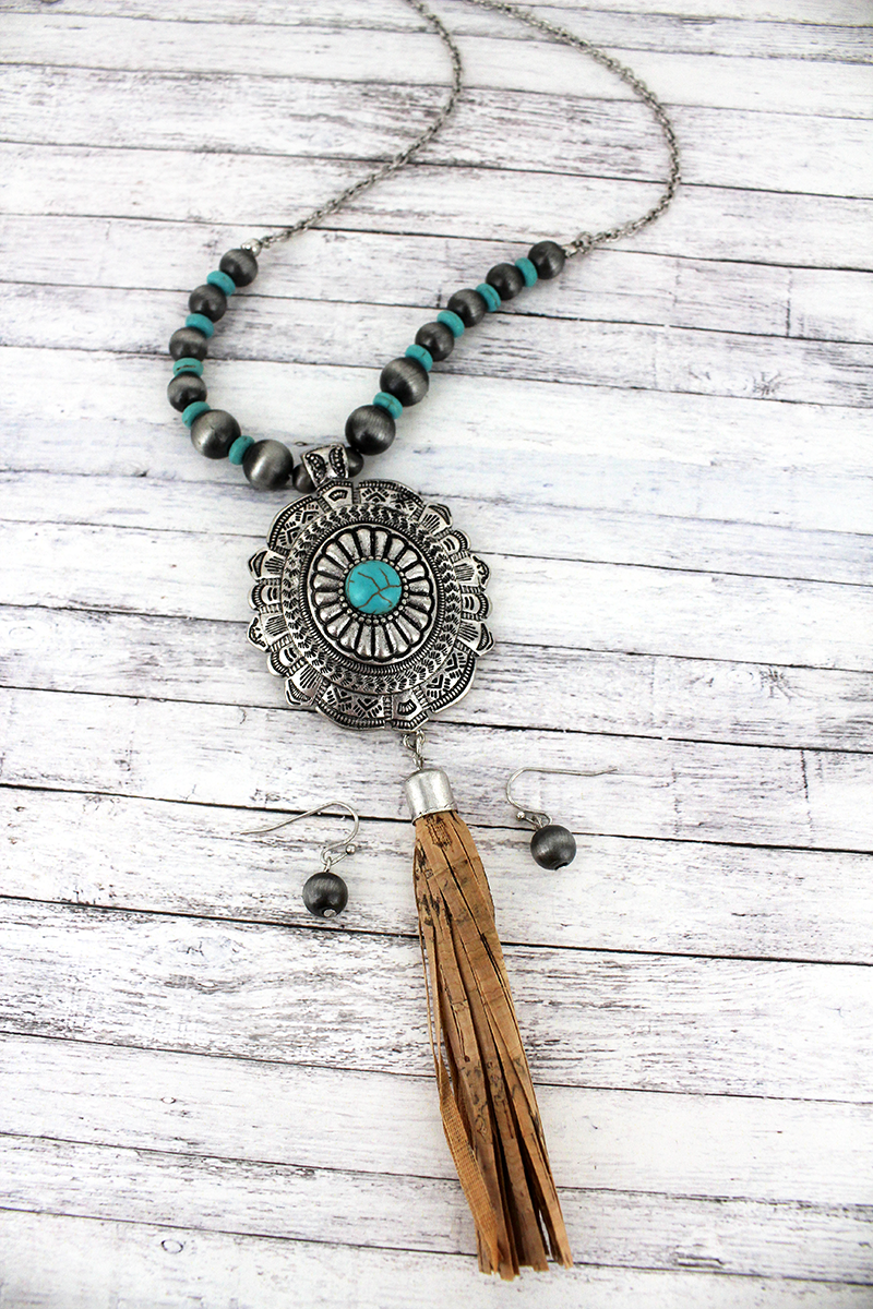 Silvertone and Turquoise Etched Concho with Cork Tassel Necklace and Earring Set