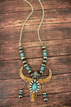 Cork and Silvertone with Turquoise Steer Navajo Pearl Necklace and Earring Set