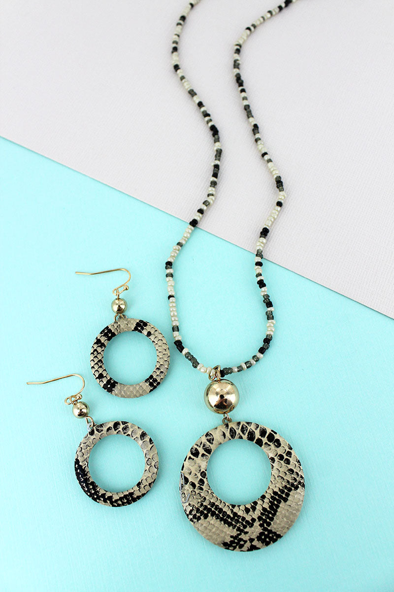 Beige Snakeskin Cut-Out Disk Seed Bead Necklace and Earring Set