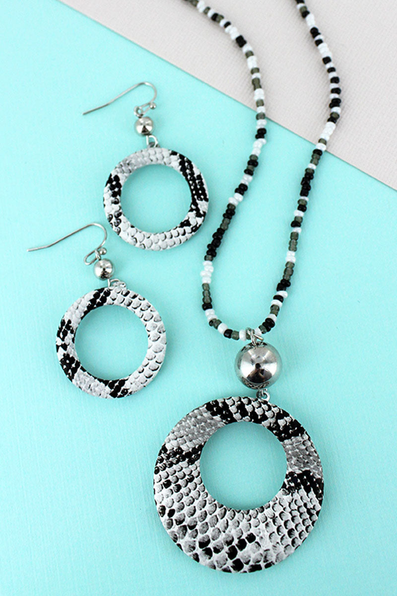 White Snakeskin Cut-Out Disk Seed Bead Necklace and Earring Set