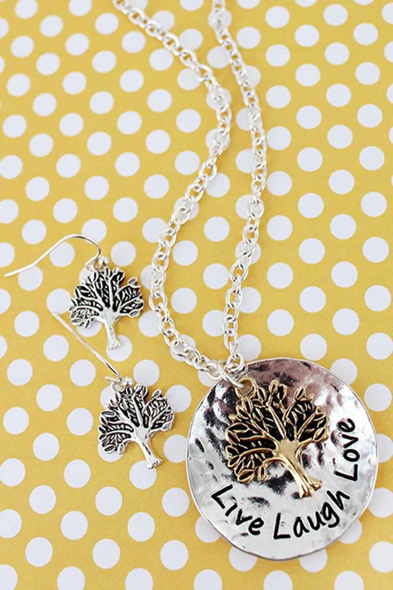 Worn Two-Tone 'Live, Laugh, Love' Tree Of Life Disk Pendant Necklace and Earring Set