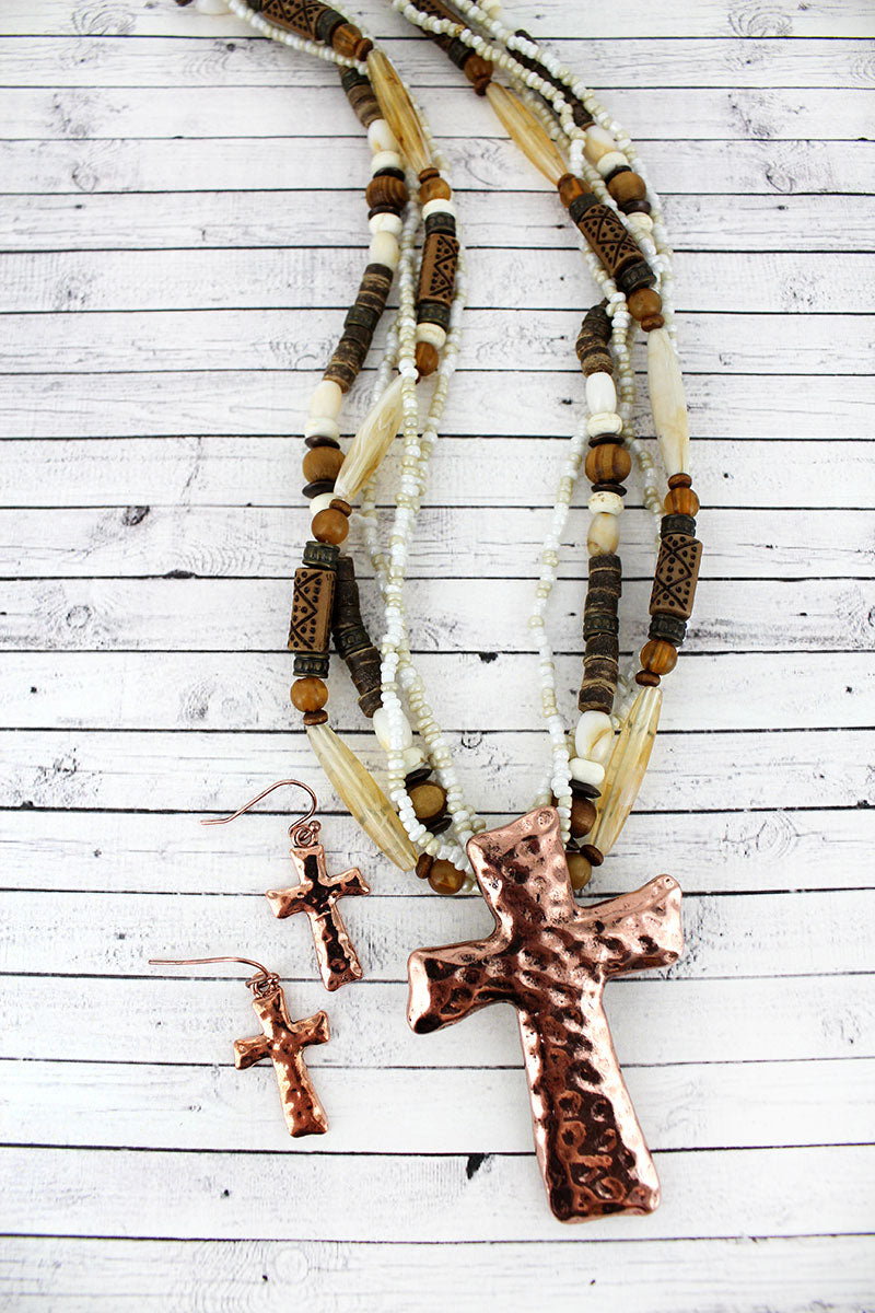 Coppertone Cross Pendant Wood and Seed Bead Necklace and Earring Set