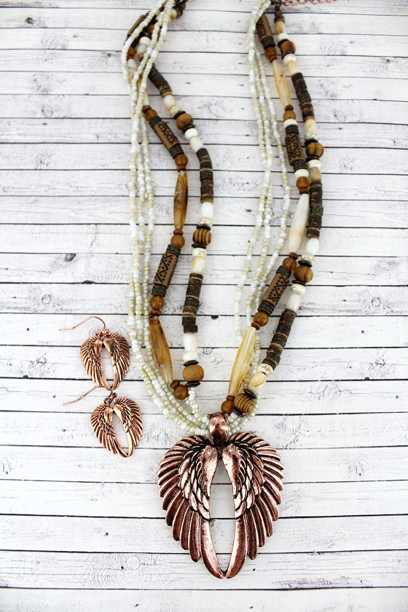 Coppertone Wings Pendant Wood and Seed Bead Necklace and Earring Set