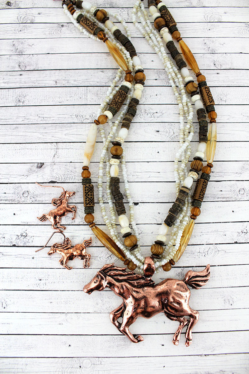 Coppertone Horse Pendant Wood and Seed Bead Necklace and Earring Set