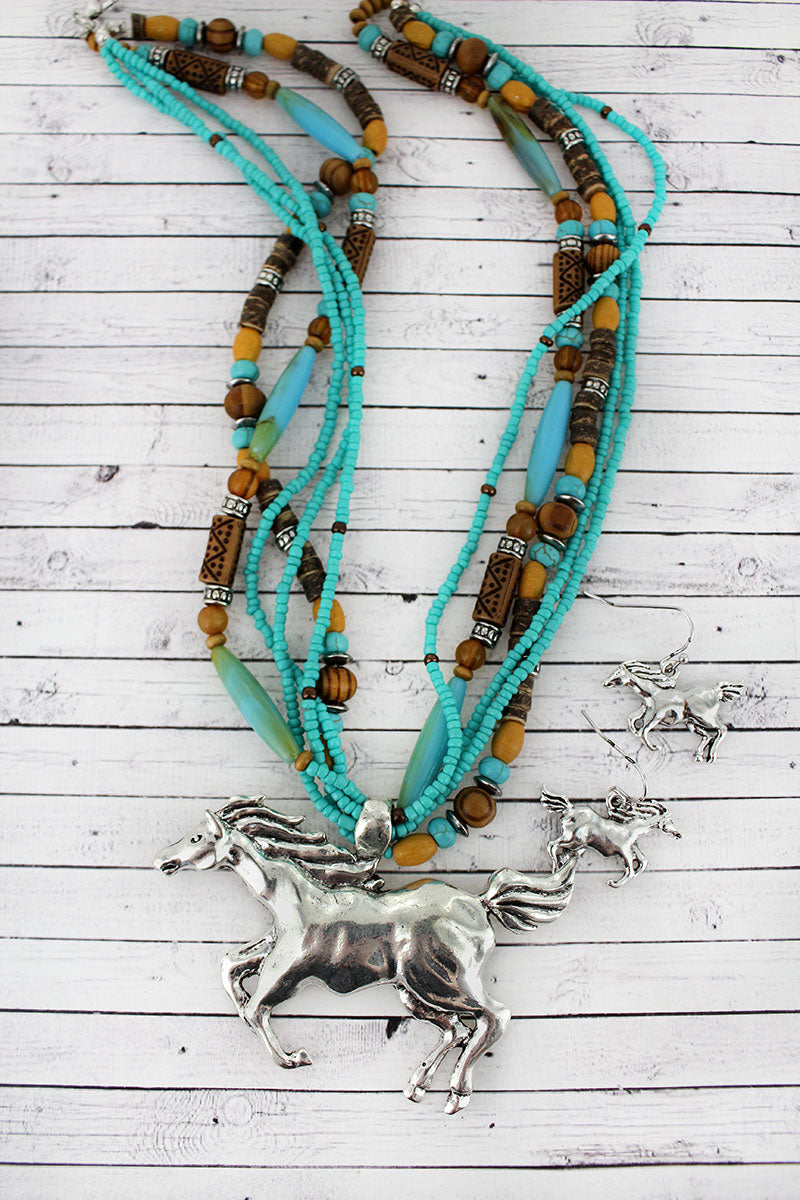 Silvertone Horse Pendant Wood and Seed Bead Necklace and Earring Set