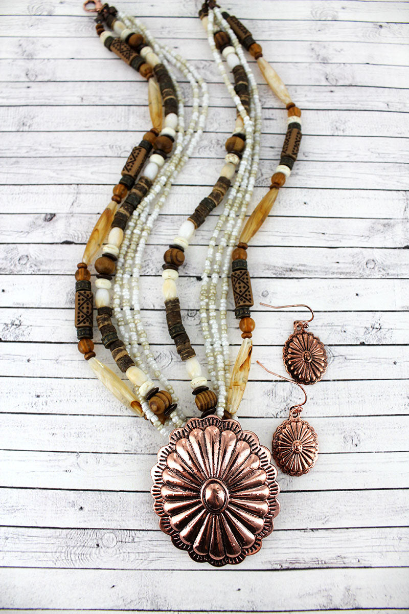 Coppertone Concho Pendant Wood and Seed Bead Necklace and Earring Set