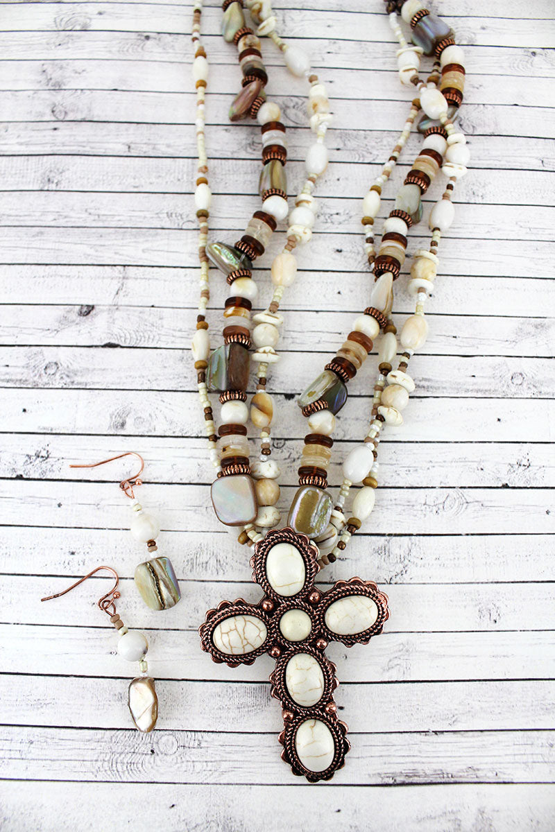 Howlite Stone Cross Pendant Mixed Bead Necklace and Earring Set