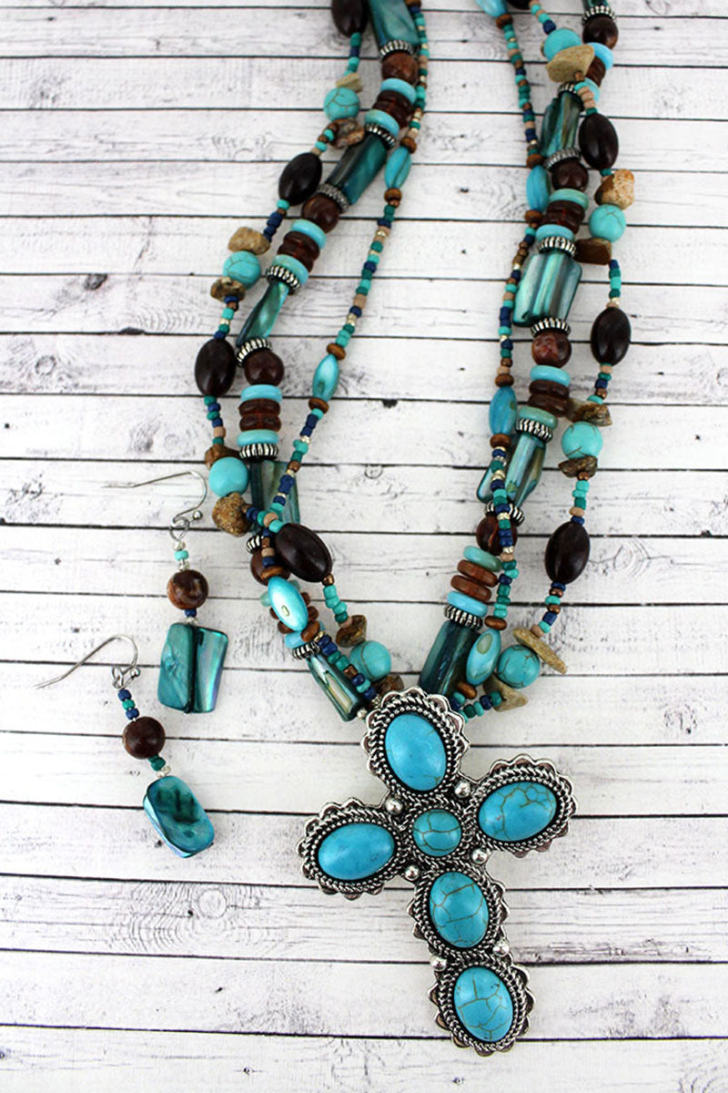 Turquoise Stone Cross Pendant Mixed Bead Necklace and Earring Set