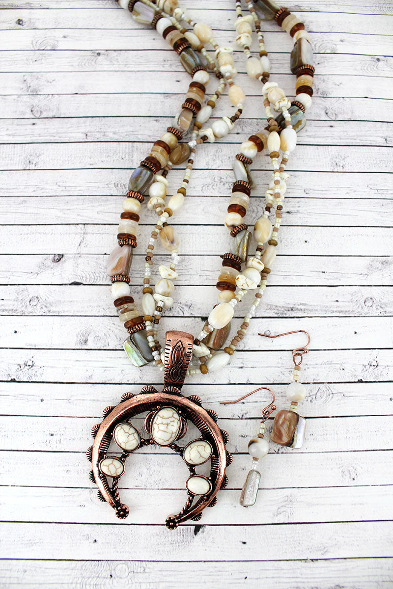 Howlite Stone Naja Pendant Mixed Bead Necklace and Earring Set