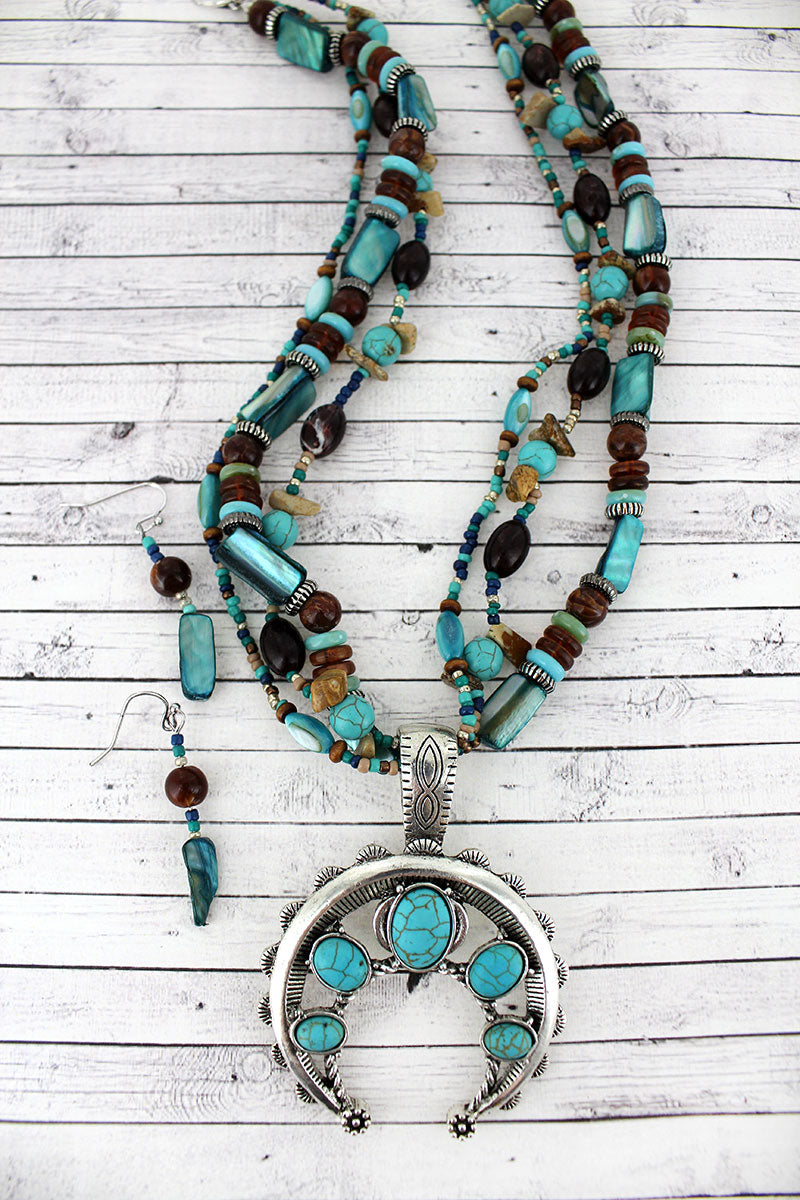 Turquoise Stone Naja Pendant Mixed Bead Necklace and Earring Set