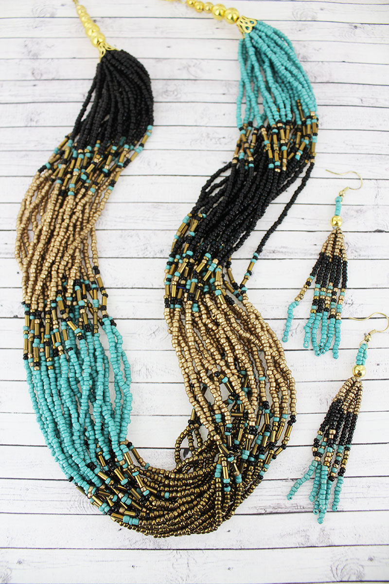Black, Turquoise, and Gold Seed Bead Multi-Strand Necklace and Earring Set
