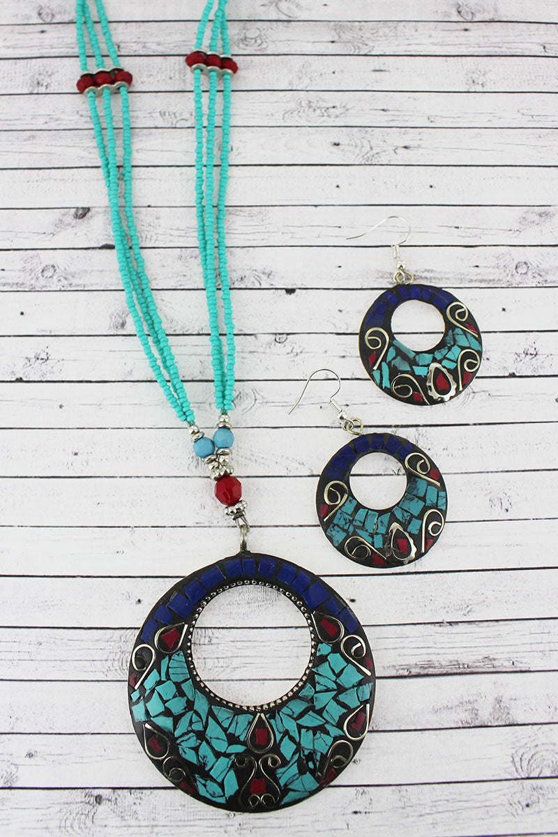 Western Mosaic Cut-Out Disk Turquoise Seed Bead Necklace and Earring Set