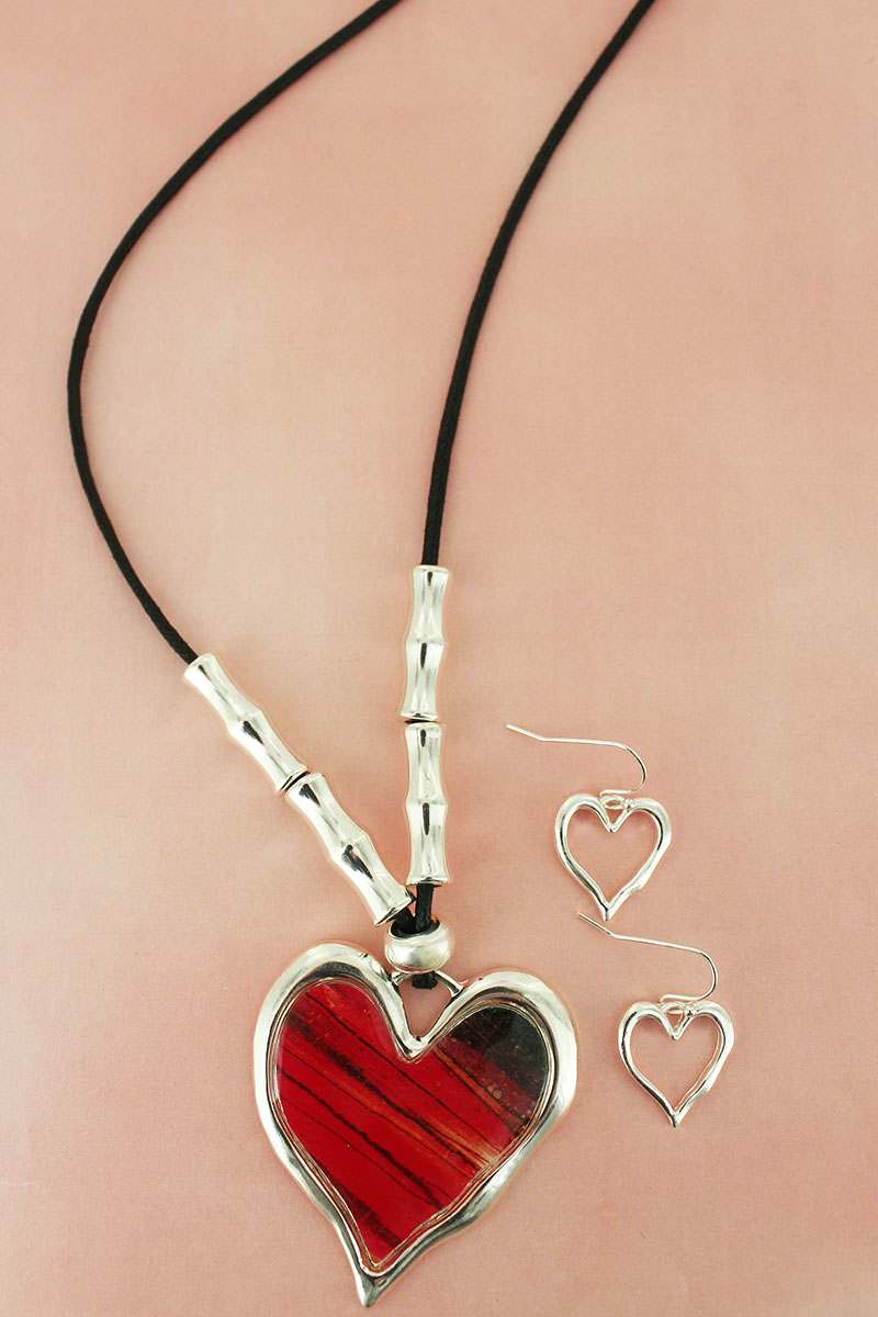 Silvertone and Red Heart Pendant Beaded Cord Necklace and Earring Set