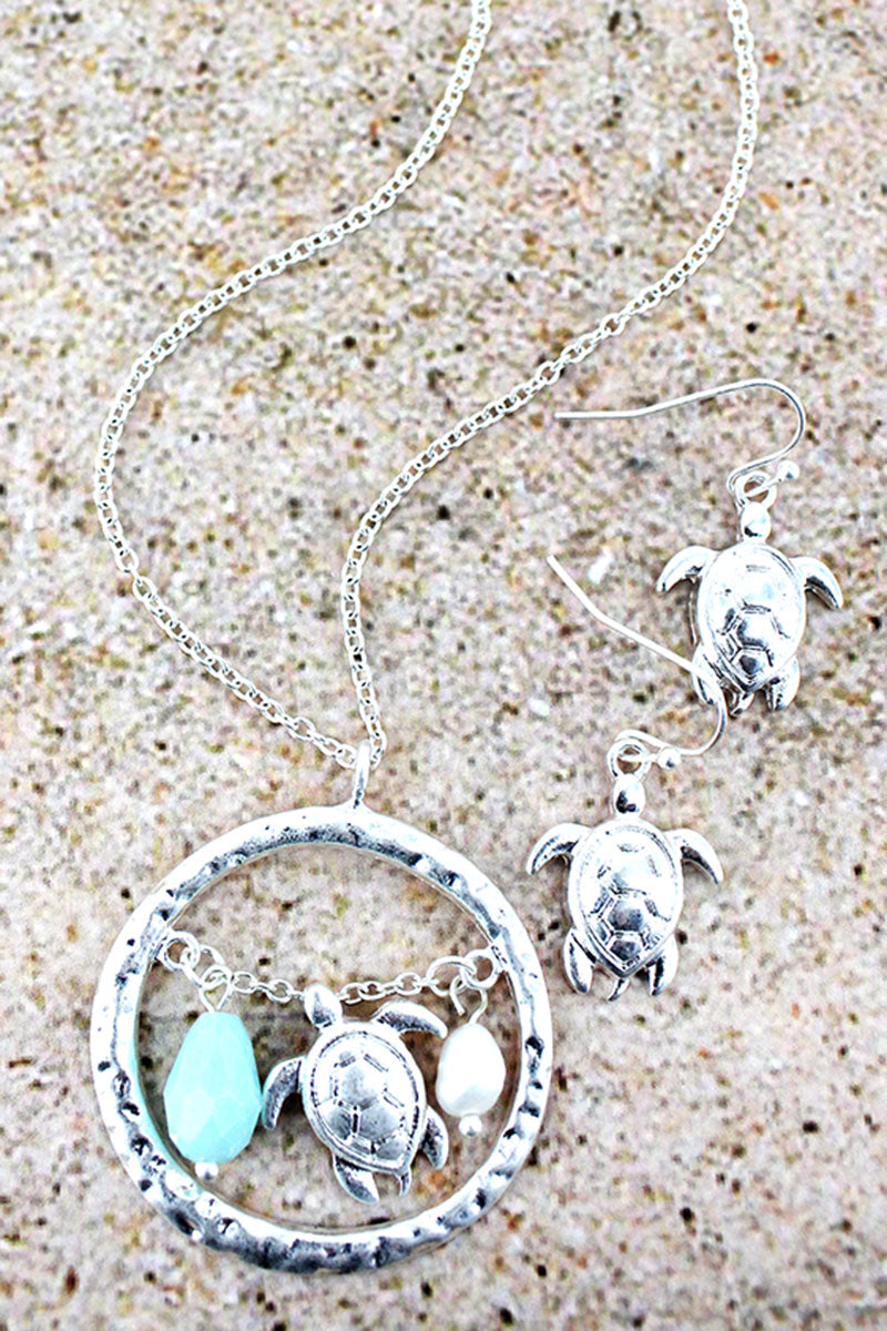 Silvertone Encircled Turtle Charm Pendant Necklace and Earring Set