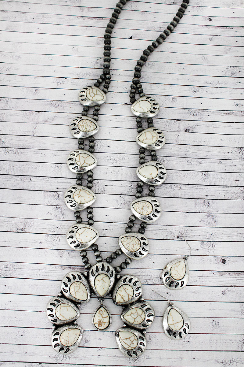 White Beaded Bear Paw Squash Blossom Necklace and Earring Set